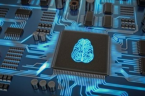 Artificial_intelligence_electronic_circuit._Microchip_with_glowing_brain._3D_rendered_illustration.