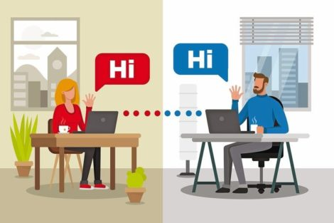 Man_and_woman_communicating_by_video_conference._Two_different_backgrounds_for_each_character._Virtual_meeting.