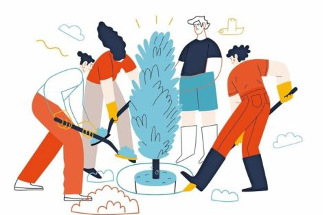 Business_topics_-_teamwork._Flat_style_modern_outlined_vector_concept_illustration._A_group_of_people_working_together_with_spades,_digging_the_ground,_planting_a_tree._Business_metaphor.