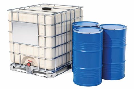 Intermediate_bulk_container_with_metallic_barrels,_3D_rendering_isolated_on_white_background