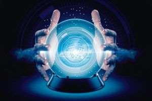 A_pair_of_male_hands_surrounding_a_crystal_ball_conjuring_up_a_iota_crytocurrency_hologram_on_an_isolated_dark_studio_background