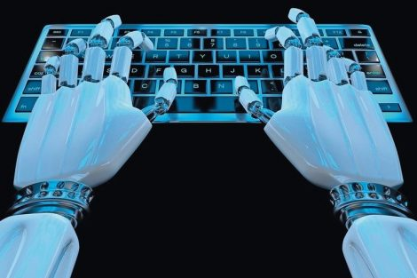 Hands_of_ai_robot_typing_on_keypad._Robotic_arm_cyborg_hand_using_keyboard_computer._3d_render_realistic_illustration.